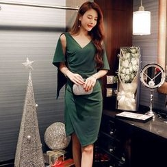 Lovi - V-neck Sleeveless Cocktail Dress