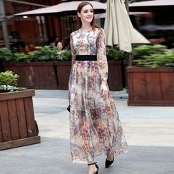 Elabo - Embellished Floral Print Maxi Dress