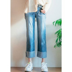 Chlo.D.Manon - Cuff-Hem Washed Straight-Cut Jeans