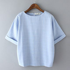 Neeya - Check Linen-blend Short-Sleeve Top