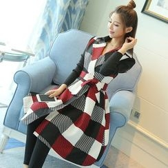 Strawberry Moon - Check Coatdress with Sash