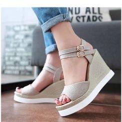 Freesia - Glitter Wedge Sandals
