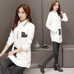 AiSun - Letter Applique Quilted Long Shirt