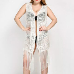 Albatron - Fringed Sleeveless Perforated Cover-up