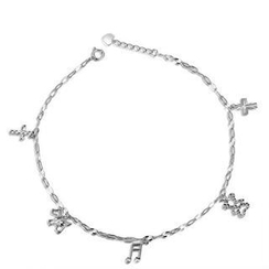 MaBelle - 14K White Gold Diamond-Cut Cross, Dog, Bear & Music Note Charm Anklet / Bracelet (8'')