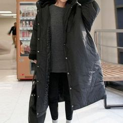 FancyMe - Plain Loose-Fit Hooded Padded Coat