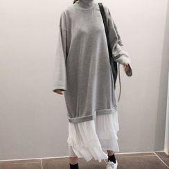 FancyMe - Mock Two-Piece Tiered Sweat Dress