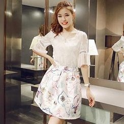 Munai - Set: Cutout Bell-Sleeve Chiffon Top + Printed Skirt