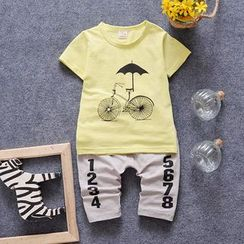 POMME - Kids Set: Printed Short-Sleeve T-shirt + Number Pants