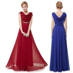 Ever Pretty - Cap-Sleeve Chiffon Panel Evening Gown
