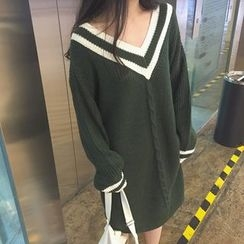 Cloud Nine - V-Neck Cable Knit Dress
