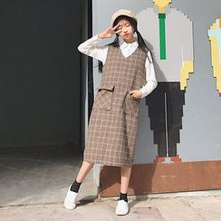MePanda - 格子V领背带裙