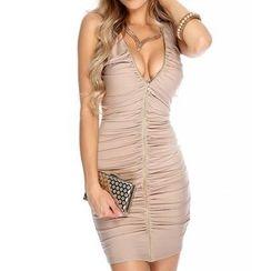 Dream a Dream - Sleeveless V-neck Sheath Dress
