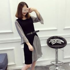 ever after - Set: 3/4-Sleeve Chiffon Dress + Slit Long Knit Vest