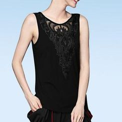 Mythmax - Sleeveless Paneled Embroidered Top
