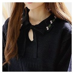 Sechuna - Tie-Neck Floral-Embroidered Knit Top