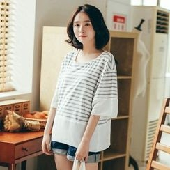 11.STREET - Elbow-Sleeve Striped T-Shirt