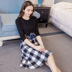 Cherry Dress - Set: Applique T-shirt + Gingham Skirt