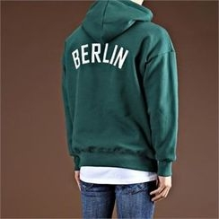 THE COVER - Hooded Lettering Brushed Fleece Top