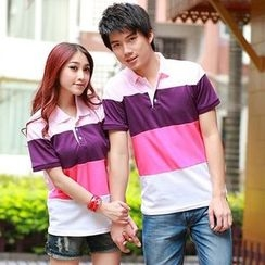 Lovebirds - Couple Color-Block Polo Shirt