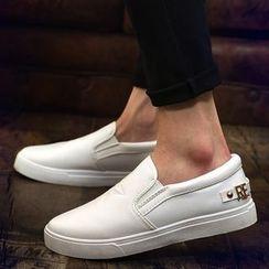Preppy Boys - Embossed-Star Slip-On Sneakers