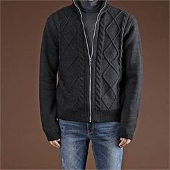 THE COVER - High-Neck Zip-Up Cardigan