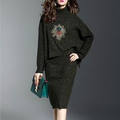 Jolly Club - Set: Turtleneck Paneled Sweater + Knit Skirt