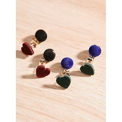 icecream12 - Heart Velvet Dangle Earrings