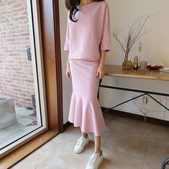 Hello sweety - Set: Boat-Neck 3/4-Sleeve Top + Ruffle-Hem Skirt