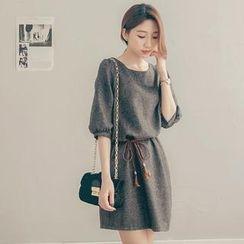 Tokyo Fashion - Tied-Waist Tweed Dress