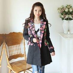XINLAN - Floral Panel Trench Coat