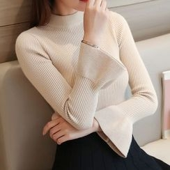 Ageha - Bell Sleeve Mock Neck Sweater