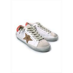 GOROKE - Contrast-Trim Star-Appliqué Distressed Sneakers