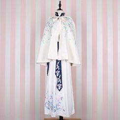 Rega - Floral Embroidered Mandarin Collar Long-Sleeve Top / Maxi Skirt / Hooded Cape / Scarf