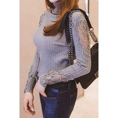migunstyle - Turtle-Neck Lace-Trim Knit Top