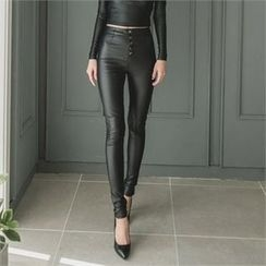 clubber - Faux-Leather Skinny Pants