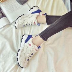 Chryse - Color Panel Platform Lace Up Sneakers