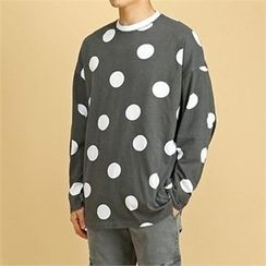 THE COVER - Round-Neck Dot-Pattern T-Shirt