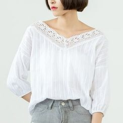Sens Collection - Lace Trim 3/4-Sleeve Top