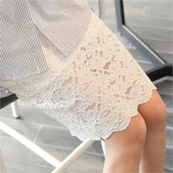 clicknme - Band-Waist Scallop-Hem Lace Skirt