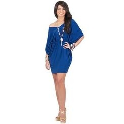 Hotprint - Drop Shoulder V-Neck Sheath Dress
