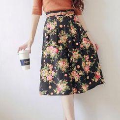 Tokyo Fashion - Floral Pleated Midi Skirt