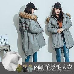 PUFII - 內刷羊羔毛背字母爆毛長版外套大衣