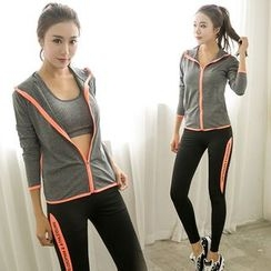 PUDDIN - Sports Set: Piped Jacket + Skinny Pants
