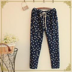 Rosadame - Fish Print Drawstring Pants