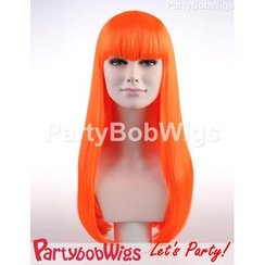 Party Wigs - PartyBobWigs - Party Long Bob Wig - Neon Orange