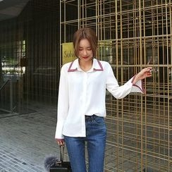 DABAGIRL - Wide-Cuff Contrast-Trim Shirt