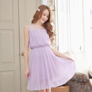 Tokyo Fashion - Tulle-Panel Pleated Sleeveless Dress