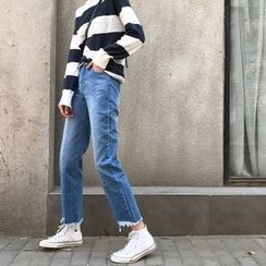 Duterena - Washed Fray-Hem Straight-Cut Jeans
