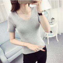 anzoveve - Knit V-Neck Short-Sleeve T-Shirt